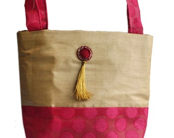 Beige and Pink Silk Purse
