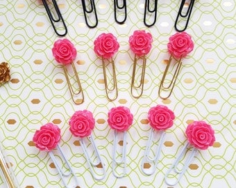 2 Sided Pink Rose Paperclips- Set 2