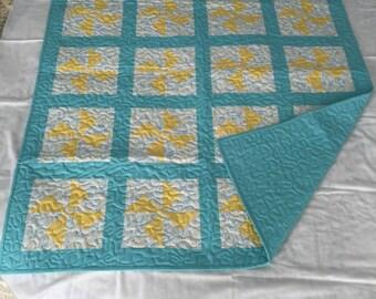 Yellow Pinwheels with Tourquoise Borders