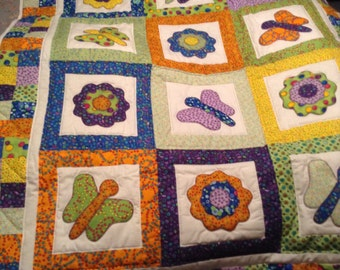 "Handmade quilt -Childs appliqués butterfly and flower quilt, bright colored 50""x40"""