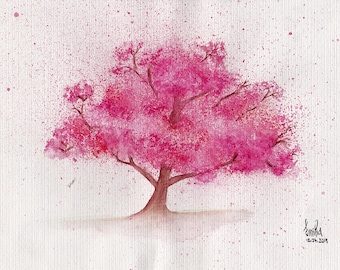 Watercolor painting of a Sakura Tree (Cherry Blossoms) MADE TO ORDER