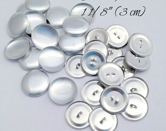 Size 45- 50 Cover Buttons, WIRE backs- Size 45 (1 1/8 Inch, 3 cm), Loop Back Aluminum Buttons to Cover - QTY 50