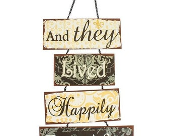 and they lived happily ever after, sign, hanging sign, wedding decor, home decor, keepsake, gift, shabby chic