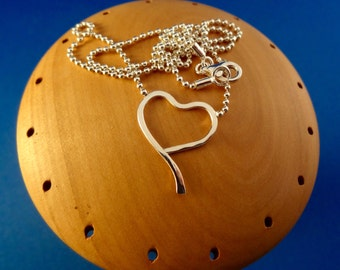 Free Shipping*  Sweet Sterling Silver Heart Necklace