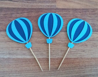 Hot air balloon cupcake toppers, 12 Blue hot air balloon cupcake toppers, Time Flies Themed Party, Boy baby shower,  Up, Up and away