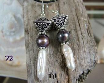 Eye-catching freshwater pearl & sterling silver earrings