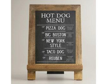 Hot Dog Bar Menu
