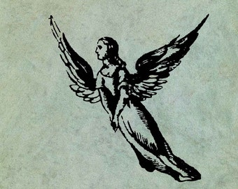 Flying Angel in Long Robe - Antique Style Clear Stamp