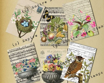 Shabby Collage Antique Style Gift Tags Instant Download Fruit Flowers Birds Music Handwriting