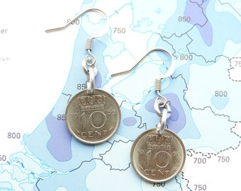 Netherlands dime coin earrings in year of birth 1948 - 1950 - 1951 - 1952 - 1953 - 1954 - 1955 - 1956 - 1957 - 1958 - 1959
