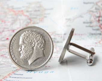 Greece coin cufflinks - 2 different designs - made of original pre-euro coins from Greece