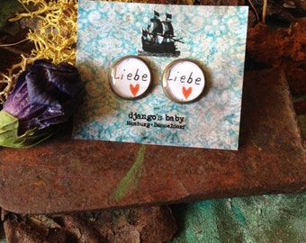 Love. Baby loves you. Ear studs bronze. 12mm