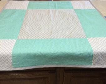 Nine Patch Aqua & Gray Baby Quilt - Modern - Minky Backing