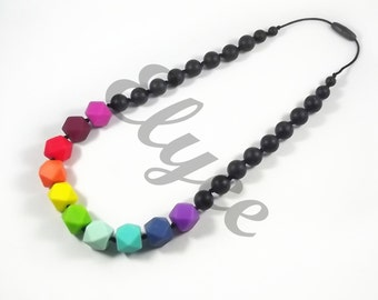 """Necklace of teething beads in silicone, chewing, model """"Soane"""""""