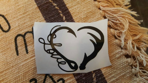 Hook and antler Decal / Fishing Decal / Hunting Decal / Yeti Decal