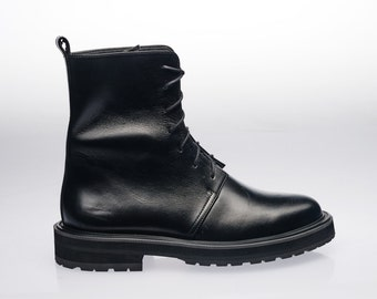 Lace-up Woman Combat Boots, Woman Grunge Boots, Military Woman Boots, Biker Lady Boots, Motorcycle Woman Boots, Black Leather Boots