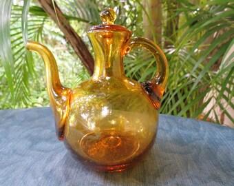 Hand Blown Antique Amber Glass Pitcher