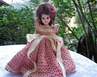 Antique Doll - Pink Crochet Hat and Dress - Moveable Eyes