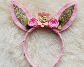 Bunny Ears Flower Crown // pink blush and gold