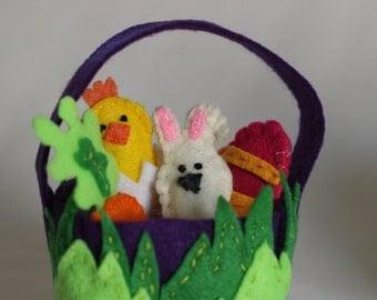 Felt Easter Baskets - Easter Bunny - Egg - Carrot - Montessori - Unique Gift - Spring