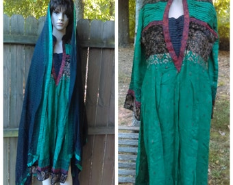 Vintage 2 Pieces Green Pakistan Tunic and  Head Cover/Green Kameez / Kurta with Dupatta  Scarf/Pakistan Bohemian Ethnic Tunic kurta