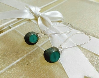 Grey and turquoise stone earrings