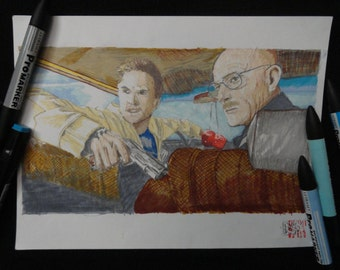 Illustration Original Breaking bad in marker on Canson format A4