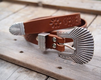 Custom stamped Bohemian Rock n Rolla leather belt