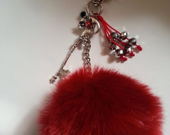red ridding hood pom pom keychain