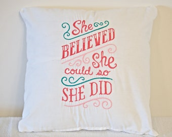 Throw pillow sampler with encouragement