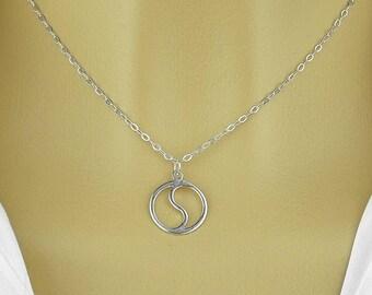 Yin Yang pendant necklace , sterling silver 925