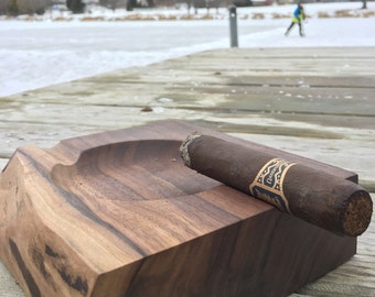 Handmade Wood Cigar Ashtray, With Personalized Message