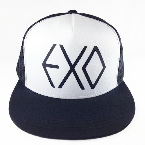 EXO Black and White Trucker Hat, Kpop, Korean Music, Wolf 88, Sehun, Kai, Suho, Luhan, Xiumin, Tao, Kris, Lay, Chen, Adjustable, Flat Bill