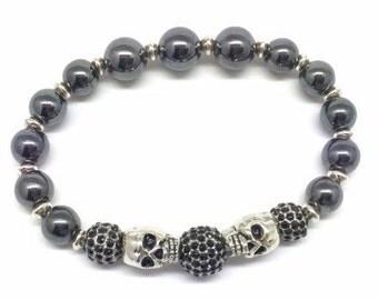 Skulls Bracelet, Black Beads Skull jewelry, Silver Skull, Skull Jewelry, Hematite bracelet, Jet Balck Pave Crystals, Micro Pave, Hematite
