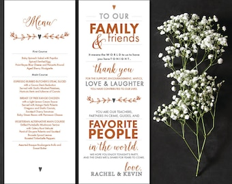 Wedding Menu and Thank You Placecard Customizable Printable PDf