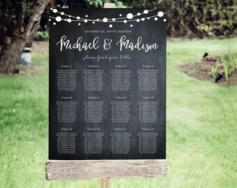 Wedding Seating Chart Template | Editable PDF, Printable Seating Plan Poster, Seating Board | Chalkboard | ED 5175