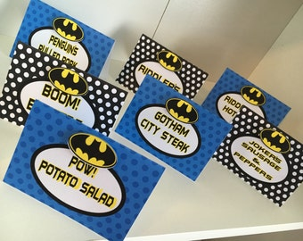 Batman Food Tent/Placecards, Batman Party Food Labels, Batamn Party, Placecards, Tentcards, Food Label- - set of 12