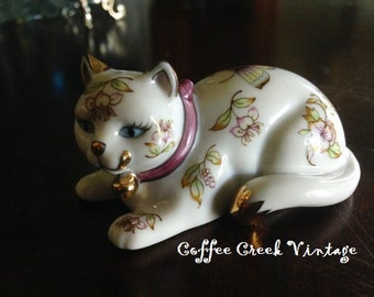 Floral Cat Figurine- Franklin Mint-Curio Cabinet Cats Collection