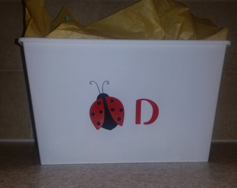 Ladybug gift set (bin, tumbler, and canvas) - Personalized