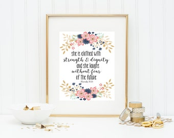 She is Clothed with Strength Proverbs 31 Printable Wall Art