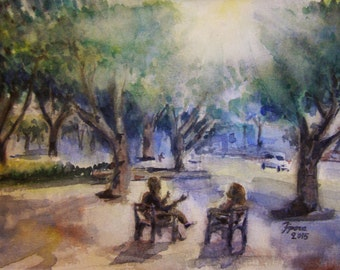 Conversation in park. Print of romantic watercolor painting. Home decor, office decor, or greeting card.