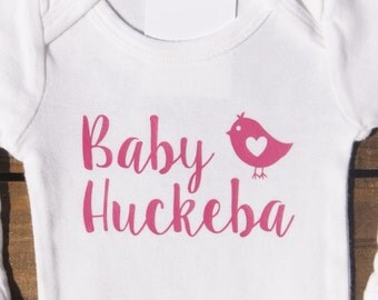 Personalized with first name or last name baby bodysuit or onesie with bird - pink, bird, newborn, girl, boy
