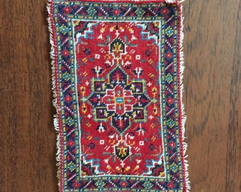 1:12 Dollhouse Area Rug, Hand-made and embroidered Red and Black Turkish pattern, tassle edging