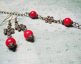 Red Coral Jewelry Coral Jewelry Set Gemstone Jewelry Vintage Jewelry Romantic Jewelry Red Coral Earrings Red Coral Bracelet FREE SHIPPING