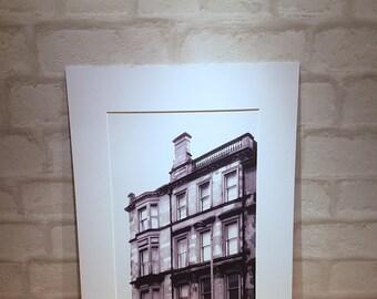 Glasgow tenements print ,Tenement art, iconic Glasgow Architecture, Mounted Print A5 A4 A3