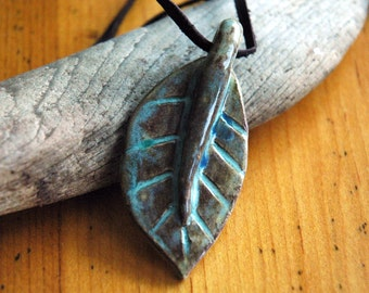 Brown and blue ceramic leaf pendant necklace
