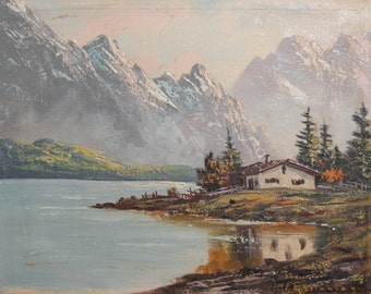 Antique oil painting landscape lake