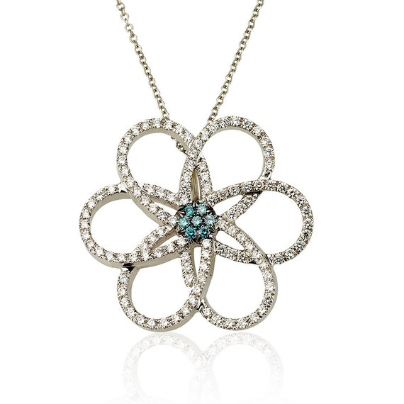 Flower Pendant , 18k Gold and Diamonds Pendant, Diamonds Flower Pendant