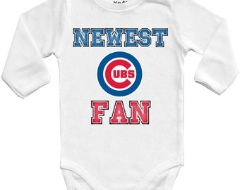 Chicago Cubs Newest fan,MLB Baby Vest Baby Bodysuit Funny Baby Child One Piece boy's girl's Clothing girl Kid's Shower Bodysuits t-shirt Top
