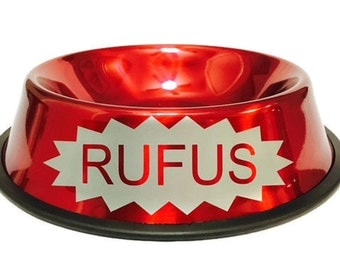 Personalized Red Dog Bowl with Starburst - Personalized Dog Bowl - Custom Dog Bowl - Dog Dish - Dog Food Bowl - Dog Bowl with Name